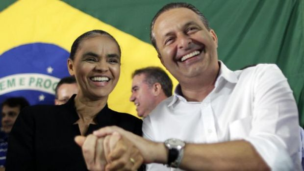 Presidential candidate Eduardo Campos (right) with running mate Marina Silva in 2013.