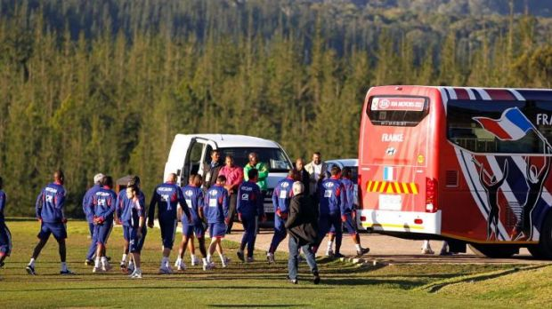 France's national football team, including Franck RIbery, return to their bus after refusing to take part in a training ...