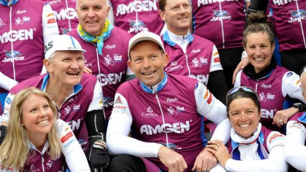 Tony Abbott on Pollie Pedal last year before the 2013 election. The charity that benefits from the ride has criticised ...