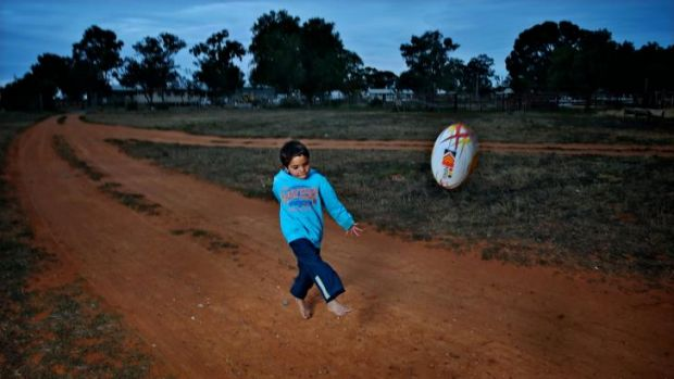 Kicking for glory: Dale Harris from Wilcannia plays with the local club.
