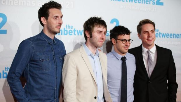 The cast of <i>The Inbetweeners 2</i> at the Sydney premiere. From left: Blake Harrison, James Buckley, Simon Bird and ...