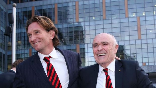 Suspended Essendon Bombers coach James Hird (L) and Bombers Chairman Paul Little outside the Federal Court.