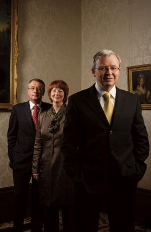 Power players: Swan with Julia Gillard and Kevin Rudd at a 2008 cover shoot for <i>AFR Magazine</i>.