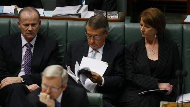 Gang of four: (From left) Lindsay Tanner, Kevin Rudd, Wayne Swan and Julia Gillard during Parliamentary Question Time in ...