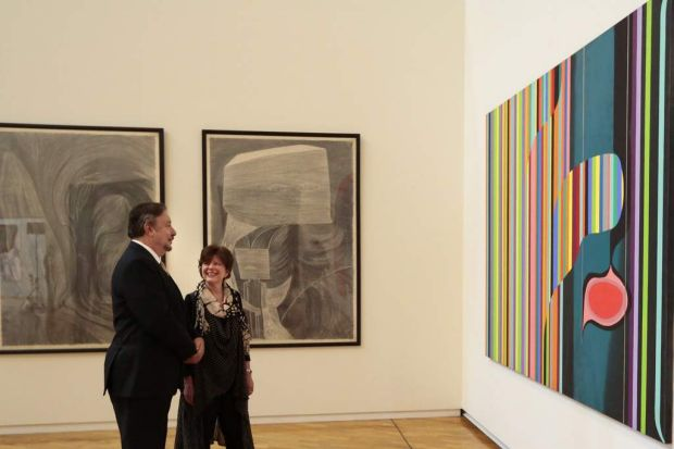 National Gallery of Australia director Ron Radford and senior curator Deborah Hart with some of Dale Frank's works.