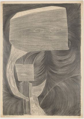 Dale Frank's The longing expulsion and self portrait. 1982, drawing in black pencil sheet 188 x 134 cm National Gallery ...
