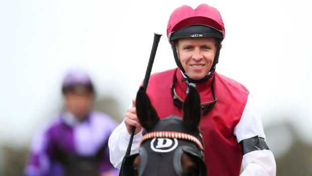 Long time between drinks: Kerrin McEvoy rode his first Saturday winner for his trainer uncle Tony on Evangelist.  They ...
