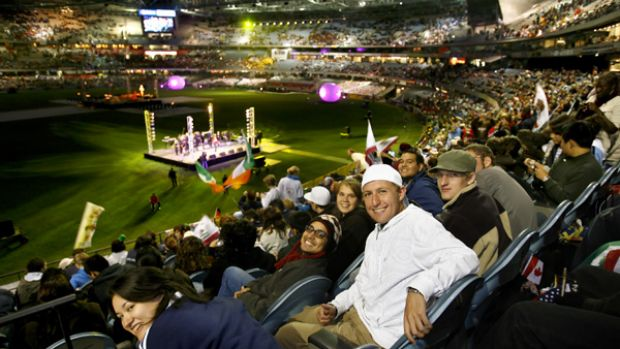 About 30,000 young Catholics attended the commissioning Mass at Telstra Dome. PICTURE: ANGELA WYLIE