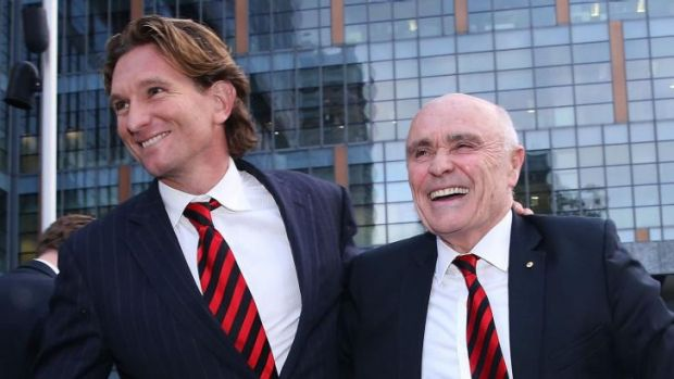Suspended Essendon Bombers coach James Hird (left) and Bombers Chairman Paul Little outside the Federal Court.