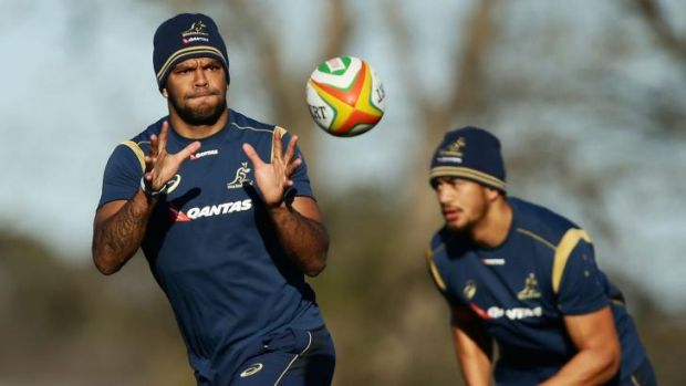 Focus: Kurtley Beale in action during a training drill in Bathurst last week.
