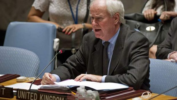 Britain's Ambassador to the U.N. Mark Justin Lyall Grant reads a statement following a United Nations Security Council ...