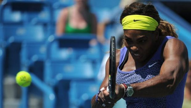Back to her best: Serena Williams thumped Serbia's Jelena Jankovic in straight sets.