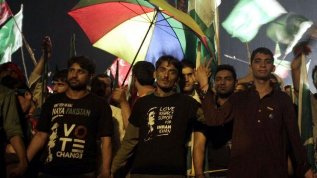 Challenge: Supporters of Imran Khan take part in an anti-government rally in Islamabad.