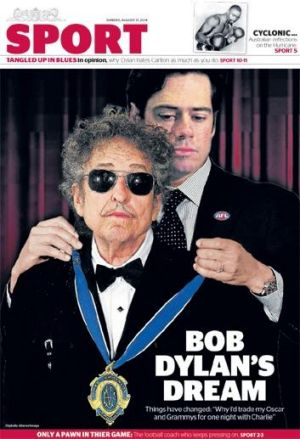 The alternative Bob Dylan sports section cover.