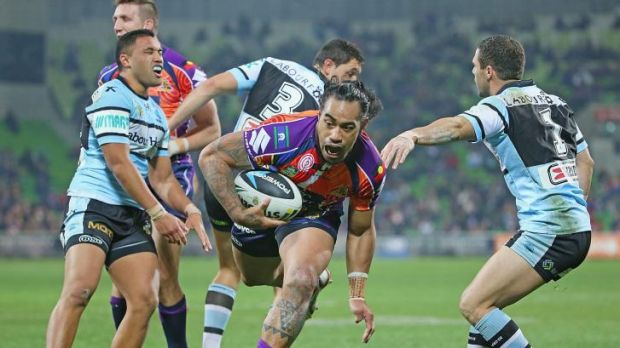 Storm front: Mahe Fonua scores for Melbourne against Cronulla.