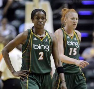 Seattle Storm's Swin Cash, left, and Lauren Jackson were almost teammates at the Canberra Capitals.