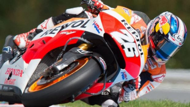 Spain's Dani Pedrosa on his way to victory in the Czech MotoGP on Sunday.