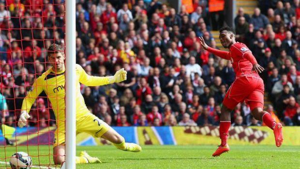 Daniel Sturridge of Liverpool scores the winner.