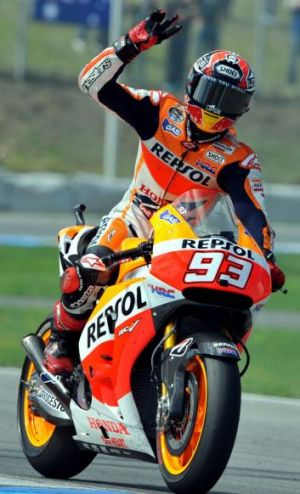 Marc Marquez waves to his fans after finishing fourth.
