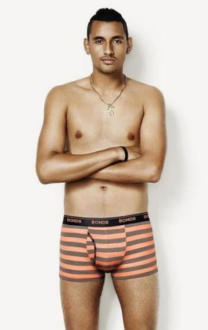 Nick Kyrgios is the new Bonds pin up boy, despite saying he goes 'commando' on court.