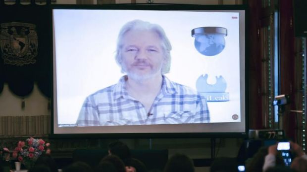 Wikileaks co-founder Julian Assange taking part in a live video conference in Mexico City earlier this month.