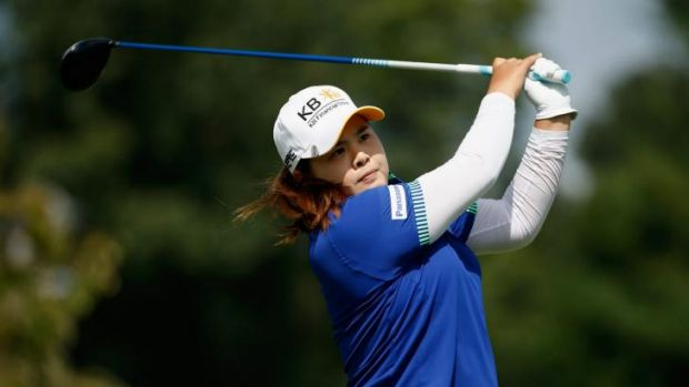 Inbee Park of South Korea hits her tee shot on the second hole.