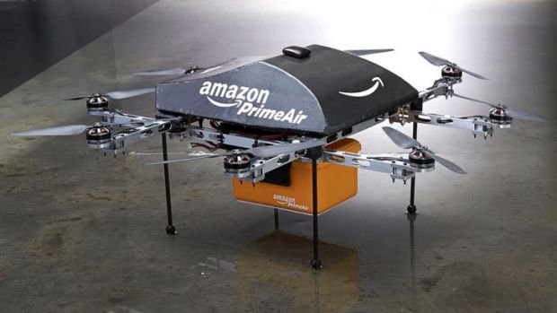 Looking for work: An Amazon PrimeAir drone.