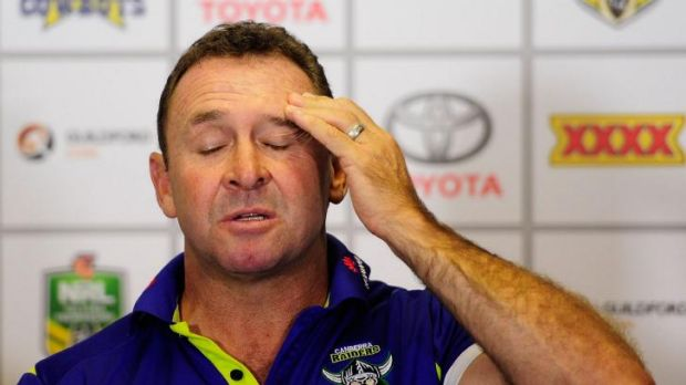 Raiders coach Ricky Stuart speaks to the media.