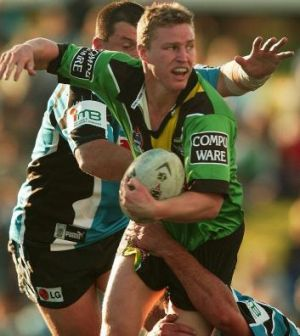 Ex-Raider Brett Finch, pictured taking on the Sharks in 2002, is another former Erindale College student.