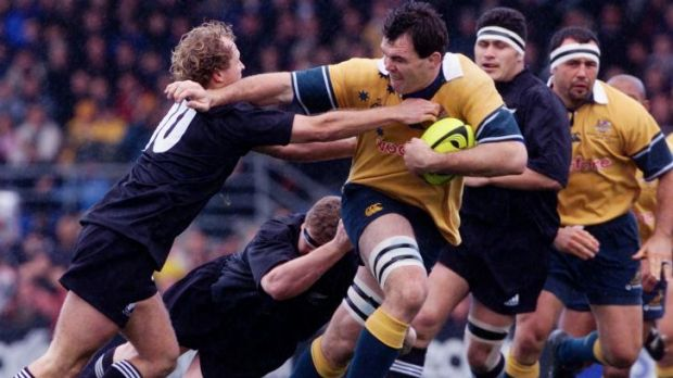 Owen Finnegan takes on the All blacks in 2001.