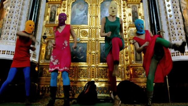 Act of defiance: Pussy Riot perform at the Cathedral of Christ the Savior in Moscow.