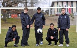 Up and coming Canberra soccer players, from left, Ridwan Hannan, Vuk Vukic, Antoni Timotheou, Ross Costanzo and Tomas Krklec.