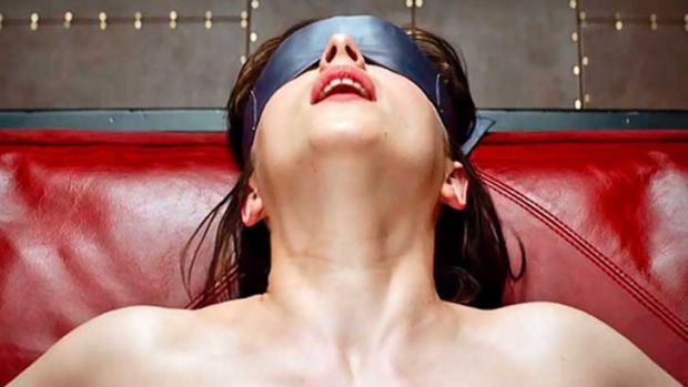 Dakota Johnson as Anastasia Steele in Fifty Shades of Grey.