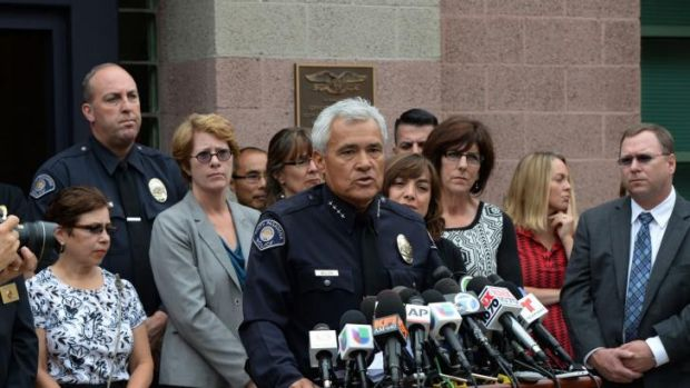 Arthur Miller, Chief of Police for South Pasadena, California, holds a press conference after two students were arrested ...