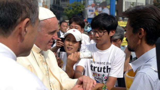 Pope Francis consoles family members of the victims of the sunken ferry Sewol.