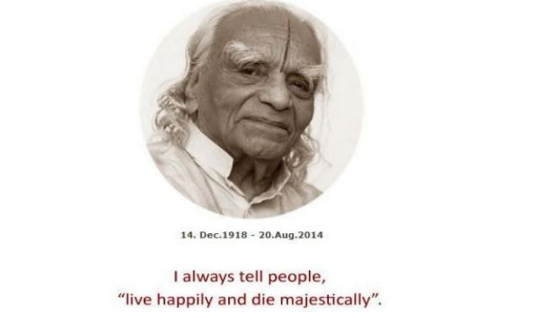 Death announcement on the website of B.K.S. Iyengar.