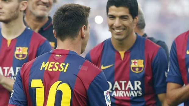 Luis Suarez and Lionel Messi exchange words at the Nou Camp this week.