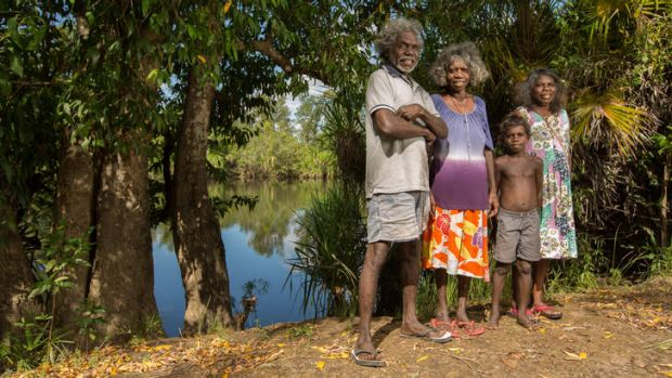 """We used to swim here"": (From left) Mark Djandjomerr, May Nango, Shelton Nango and Dell Hunter."