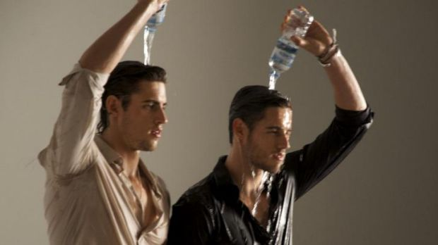 Wet, wet wet: The Stenmark twins cool off as best they can.