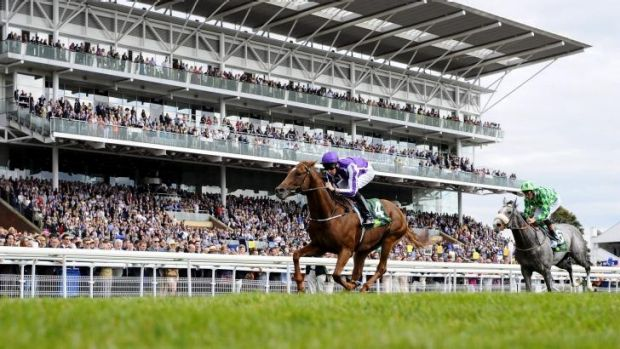 All in the family: Joseph O'Brien rides Australia to victory in the Juddmonte International at York on Wednesday.