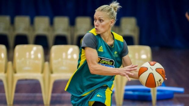 """""""We do love it when we get to put on the green and gold:"""" Erin Phillips during training with the Opals earlier this year."""
