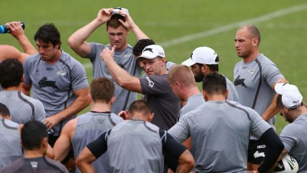 Wrestlemania: South Sydney coach Michael Maguire likes to get involved at training.