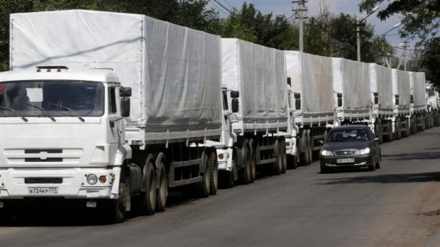 The Russian convoy rumbles towards the  Ukrainian border.