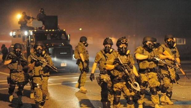 Battle zone: The images of heavily armed police shocked both the left wing and libertarian sides of US politics.
