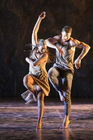 Jasmin Sheppard and Thomas Greenfield in Bangarra's <i>Patyegarang</i>.