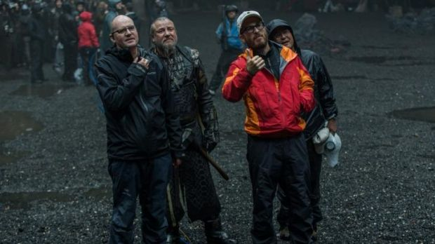 Rainy days: Ben Snow, Ray Winstone and director Darren Aronofsky on the set of Noah.