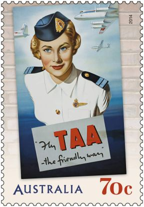 Australia Post stamp, recreating a vintage TAA ad.