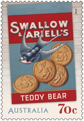 70c Swallow & Ariell's Teddy Bear Biscuits stamp for Australia Post.