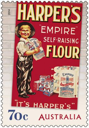 Australia Post 70c stamp, using ad for Harper's Empire Self-Raising Flour.