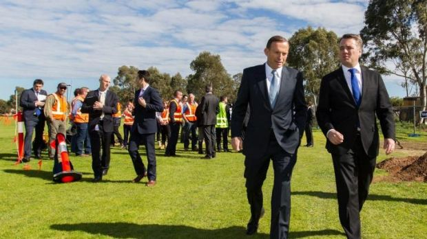 Community expectations put pressure on governments: Prime Minister Tony Abbott with the Federal Member for Mayo, Jamie ...